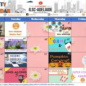 Student Activity Calendar Fall 2020