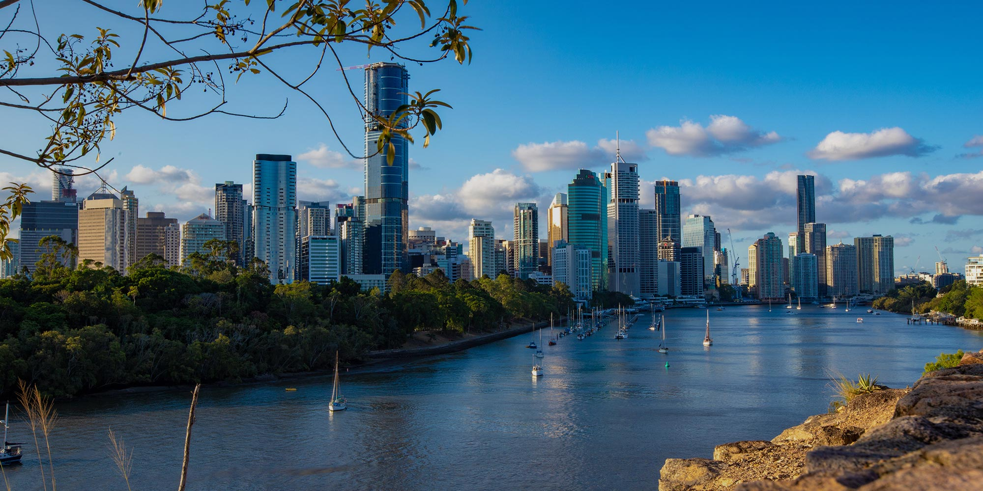 View of Brisbane, Australia from the Brisbane river, a popular destination for international students learning English