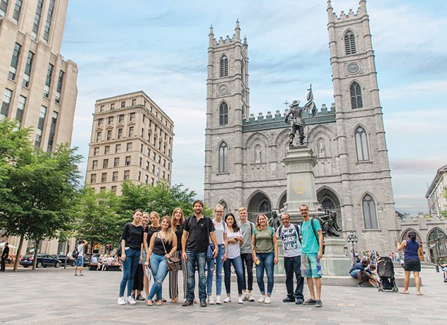 International Students at ILSC Montreal visit the Notre-Dame Basilica when they're not studying English or French