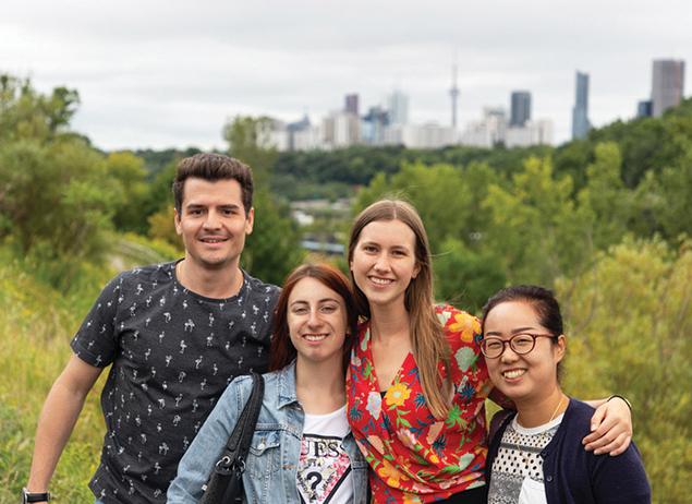 Group of international students who study English in Toronto at ILSC enjoying the city