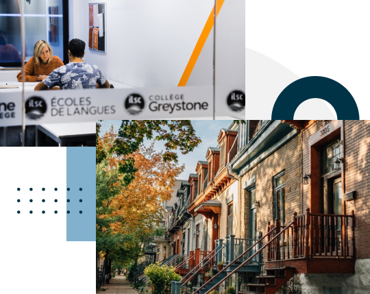 Montreal collage, city street with brownstones, College Greystone Montreal classroom.  Study business or digital marketing at a career college in Montreal