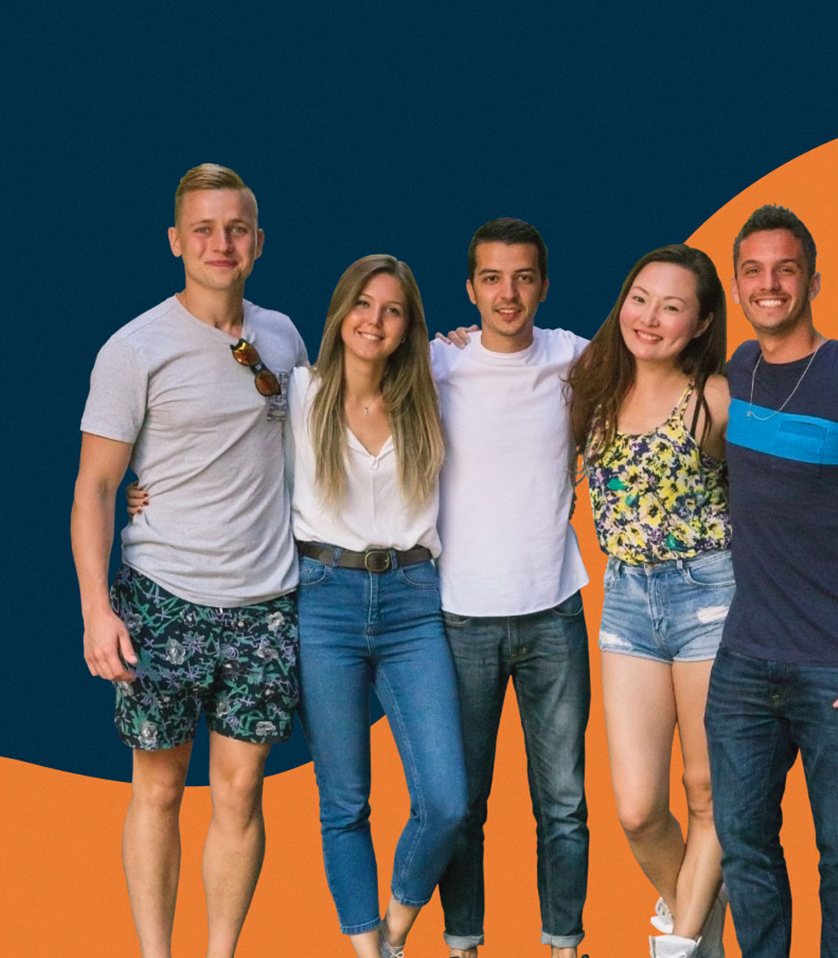 Group of students study English in Australia, Canada, or India