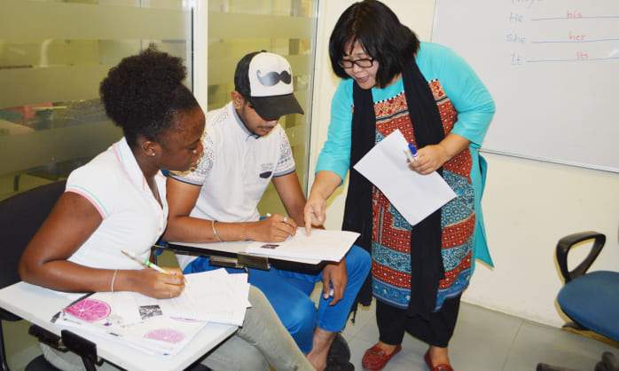 Students in New Delhi study for IELTS